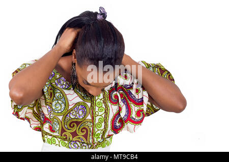 Young woman removing her chain around her neck. - Stock Image