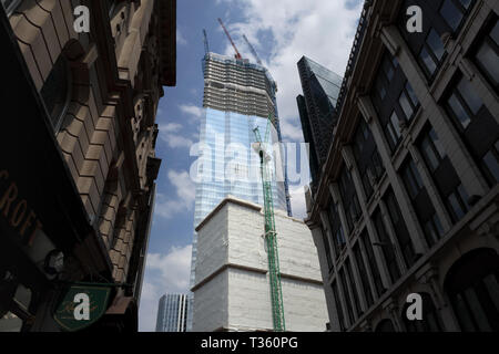 View of the top of the partly glazed new skyscraper office block, 22 Bishopsgate, under construction in the City of London finacial district, EC2 - Stock Image