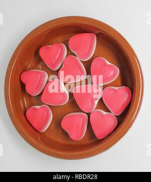 Bowl of Heart Shaped Sweets - Stock Image