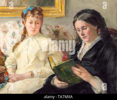 Berthe Morisot, Portrait de Mme Morisot et de sa fille Mme Pontillon ou La lecture, The Mother and Sister of the Artist, portrait painting (detail), c. 1869 - Stock Image