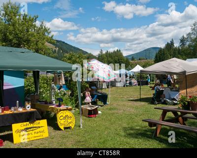 Cherryville Farmers Market in British Columbia in Canada - Stock Image