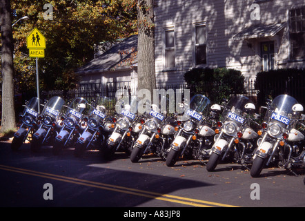Police motor cycles parked in a row. - Stock Image