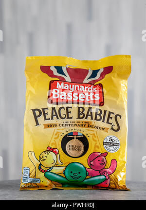 A Limited Edition bag (in support of Help for Heroes) of Peace Babies with some of the sweets in front.  From the website: In celebration of the end o - Stock Image