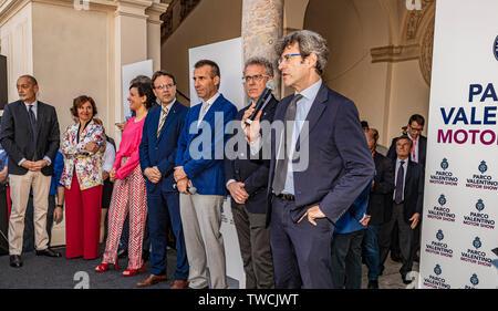 Piedmont Turin - Turin auto show 2019  - Valentino park - Valentino castle - Direttore Generale Anfia Gianmarco Giorgia - Stock Image