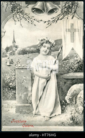 A postcard printed in Austria, shows the rural landscape and small child as an angel. The inscription in German: - Stock Image