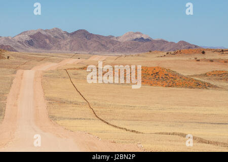 Africa, Namibia, Namib Desert. Long road and fence in desert. Credit as: Wendy Kaveney / Jaynes Gallery / DanitaDelimont.com - Stock Image
