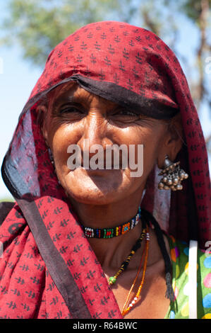 Old tribal Rabari woman - Stock Image