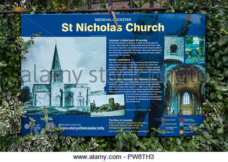 Information sign for St Nicholas Church, the oldest church in Leicester dating back to Anglo-Saxon times, Leicester, England, UK - Stock Image