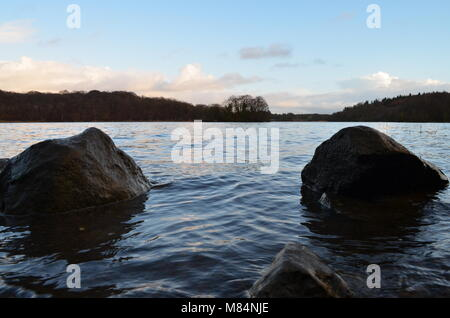 Rocks on the Lough on a Winters day in Co Fermanagh - Stock Image