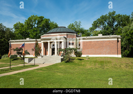 Flags waving outside Sam Houston Memorial Museum Huntsville Texas USA - Stock Image