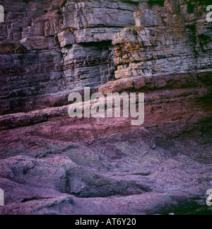 Red sandstone rock at Llanstephan Carmarthenshire Dyfed Wales UK  KATHY DEWITT - Stock Image