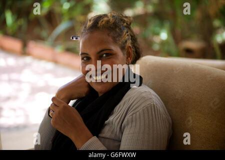 POrtrait of an Ethiopian woman smiling. Harar, Ethiopia - Stock Image