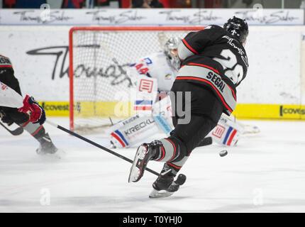 22 March 2019, Bavaria, Nürnberg: Ice hockey: DEL, Nürnberg Ice Tigers - Adler Mannheim, championship round, quarter finals, 4th matchday. The Nuremberg Brandon Segal (r) shoots the goal to 1.1. Photo: Timm Schamberger/dpa - Stock Image