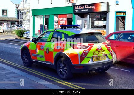 Emergency blood delivery vehicle car,Keswick,Lake District,England,UK - Stock Image