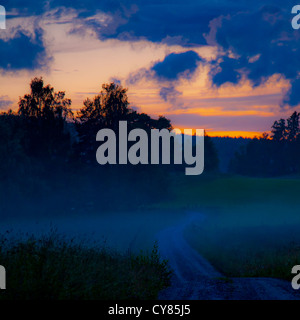 Gravel road at midnight in Varmland, Sweden. - Stock Image