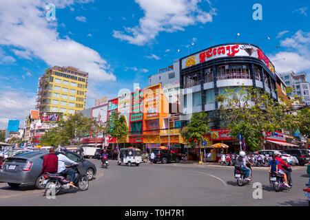 Calmette street, street 53, around the central market, Phnom Penh, Cambodia, Asia - Stock Image