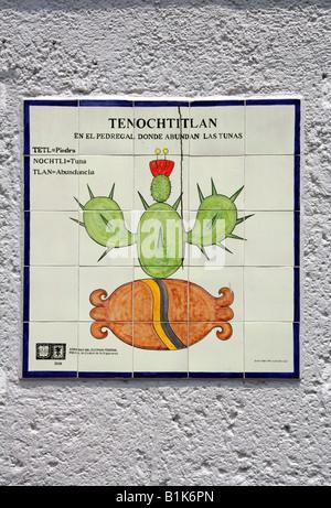 Signpost for Tenochtitlan, Ancient City of the Aztecs, Zocalo Square, Plaza de la Constitucion, Mexico City - Stock Image