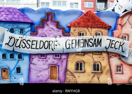 Düsseldorf, Germany. 4 March 2019. 2019 carnival motto 'gemeinsam jeck' - 'crazy together'. The annual Rosenmontag (Rose Monday or Shrove Monday) carnival parade takes place in Düsseldorf. - Stock Image