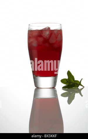 Pomegranate Juice with Ice and Fresh Mint in Glass - Stock Image