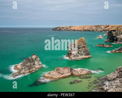 A long exposure looking down onto the sea stacks at Bedruthan Steps - Stock Image
