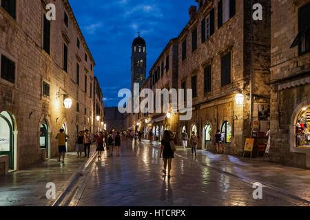 Stradun and Franciscan Monastery in the evening; Dubrovnik, Croatia - Stock Image