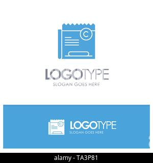 Copy, Copyright, Restriction, Right, File Blue Solid Logo with place for tagline - Stock Image