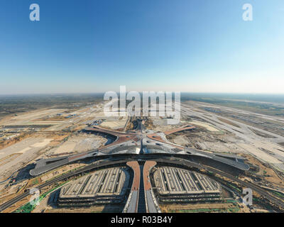 defauBeijing,China - Oct 1,2018:Aerial view of Beijing daxing international airport construction sitelt - Stock Image