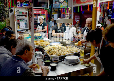 Food Stalls Mercado de Coyoacan Mexico City - Stock Image