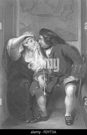 ROMANCE: Uncle Toby and the widow, antique print c1870 - Stock Image