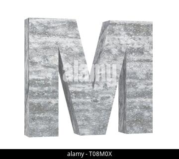 Concrete Capital Letter - M isolated on white background. 3D render Illustration - Stock Image
