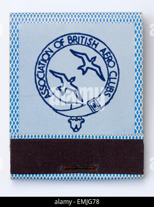 Vintage Matchbook advertising the Association of British Aero Clubs - Stock Image