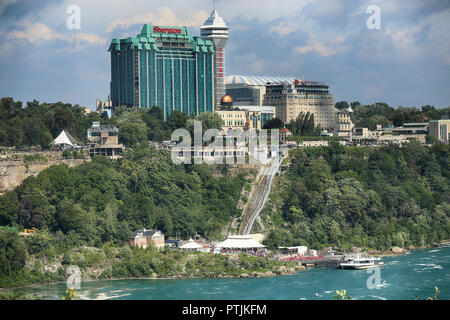 Niagara Falls, USA – August 29, 2018: Bautiful view of Niagara Falls the Canadian side with famous hotels across from the American side, New York Stat - Stock Image