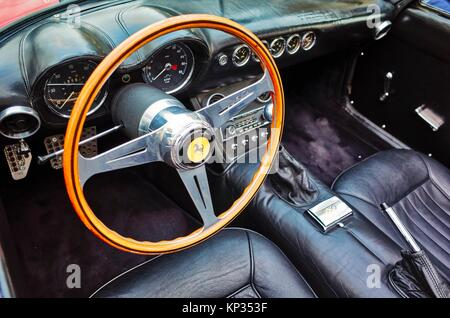 The dashboard of an historical Ferrari in Montecarlo, Monaco Principality. - Stock Image