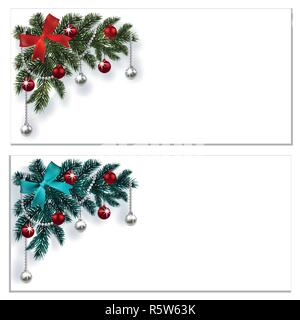 Merry Christmas and Happy New Year. Greeting cards, business cards or invitations with decorations on the blue and green Christmas tree. Corner drawing. illustration - Stock Image