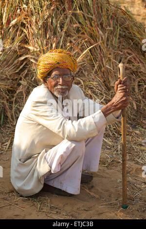 Portarit of Rajasthani man in white clothes and colourful turban, Pushkar, Rajasthan, India - Stock Image