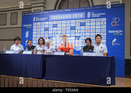 (L-R) Elite, Paratriathlon v.l.Wakako Tsuchida, Guide with Susana Rodriguez, Geert Schipper, Hideki Uda: May 16, 2019, Yokohama, Japan: Press Conference for the 2019 ITU World Triathlon and Paratriathlon Yokohama at the Monterey Hotel in Yokohama, Japan. The race will be held on May 18-19 2019 near Yamashita Park in Yokohama. Credit: Michael Steinebach/AFLO/Alamy Live News - Stock Image