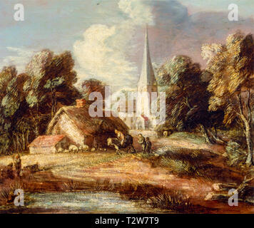 Thomas Gainsborough, Landscape with cottage and church, painting, c. 1771 - Stock Image
