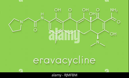 Eravacycline antibiotic drug molecule (tetracycline class). Skeletal formula. - Stock Image