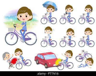 A set of Surgical Doctor women riding a city cycle.There are actions on manners and troubles.It's vector art so it's easy to edit. - Stock Image