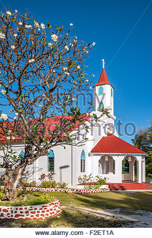 French Polynesia : Rotoava church in Fakarava - Stock Image