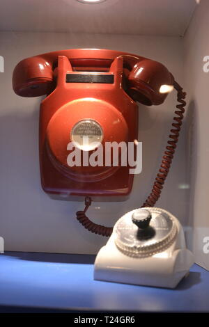 Model 706 telephone from 1972 in the Connected Earth Exhibition at the Milton Keynes Museum, Wolverton, Milton Keynes, Buckinghamshire, UK - Stock Image