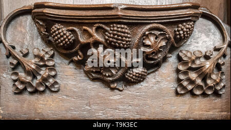 A medieval misericord depicting a vine with four bunches of grapes, Ripon Cathedral, Yorkshire, UK - Stock Image