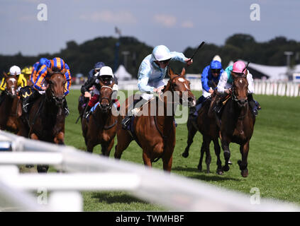 Ascot Racecourse, Windsor, UK. 21st June, 2019. Royal Ascot Horse racing; Race 4; Coronation Stakes; Watch Me Ridden By P C Boudot Trained By F H Graffard retakes the lead to win the race Credit: Action Plus Sports/Alamy Live News - Stock Image