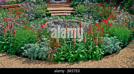Colourful cottage garden with pool - Stock Image