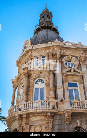 Facade of the Town Hall of Cartagena, one of the main Modernist buildings in the city. It was built between 1900 and 1907. - Stock Image