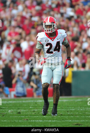 Pasadena, California, USA. 01st Jan, 2018. Georgia Bulldogs safety Dominick Sanders #24 during the 2018 Rose Bowl - Stock Image