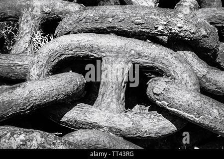 Links of a heavy chain.  A Coruna, A Coruna Province, Galicia, Spain. - Stock Image