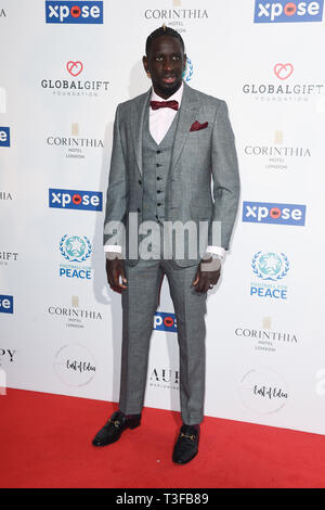 London, UK. 08th Apr, 2019. LONDON, UK. April 08, 2019: Mamadou Sakho arriving for the Football for Peace initiative dinner by Global Gift Foundation at the Corinthia Hotel, London. Picture: Steve Vas/Featureflash Credit: Paul Smith/Alamy Live News - Stock Image