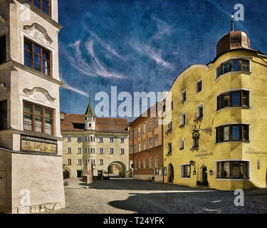 DIGITAL ART: Rattenberg in Tirol, Austria - Stock Image