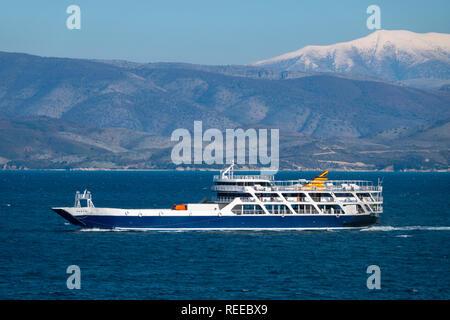 Greece Greek Ferry Boat going between Greek mainland and Corfu  Island - passenger boat Ionian Sea - Stock Image